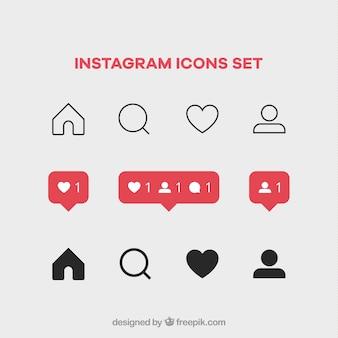 Set di icone di instagram