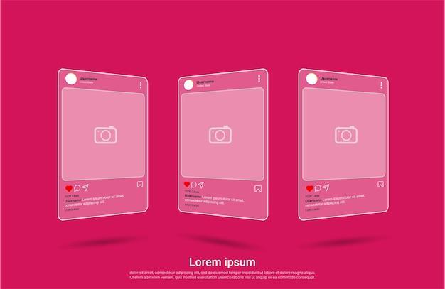 Modello di social media interfaccia instagram