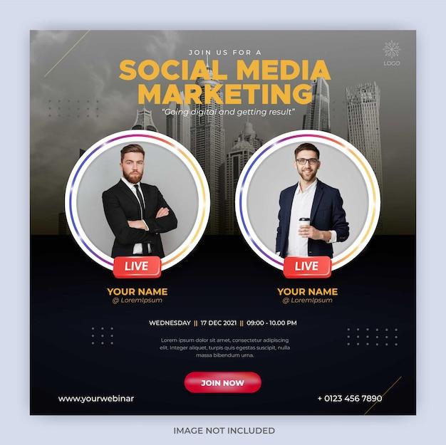 Modello di post in streaming live di instagram per il marketing aziendale