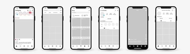 Modello di mockup di instagram per il telaio della piattaforma di rete dell'app dell'interfaccia dei social media con smartphone