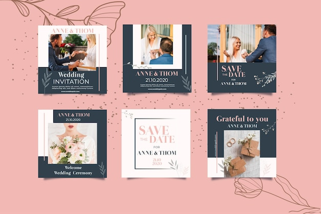 Collezione post instagram per matrimonio con fiori