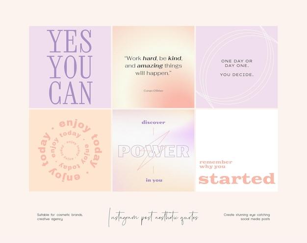 Raccolta di modelli di citazioni estetiche sfumate post instagram