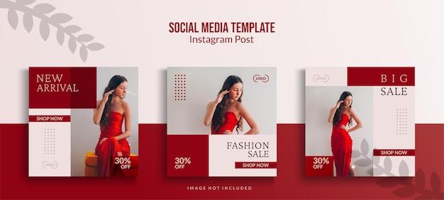 Raccolta di modelli di post di instagram, vendita di moda