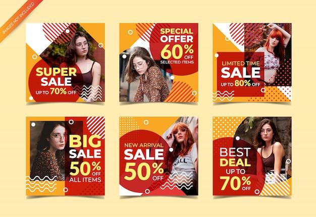 Modello della posta di instagram o insieme quadrato dell'insegna, vendite di moda