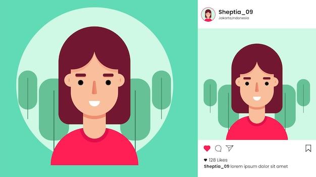 Modello di post di instagram con avatar femminile piatto