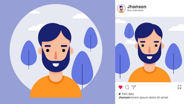 Modello di post di instagram con avatar maschile piatto