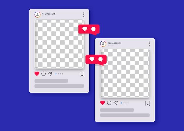 Post di instagram in sfondo trasparente con cuore icona Vettore Premium