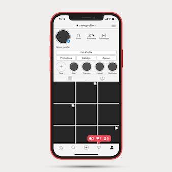 Modello di profilo instagram ui ux app
