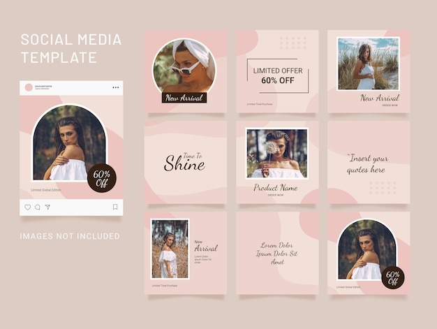 Instagram puzzle template social media feed