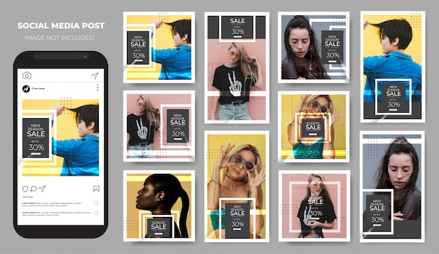 Instagram ha impostato il feed dei post sui social media minimalista di vendita di moda