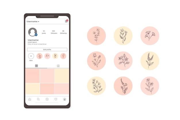 Punti salienti delle storie rosa floreali di gradiente dei social media instagram
