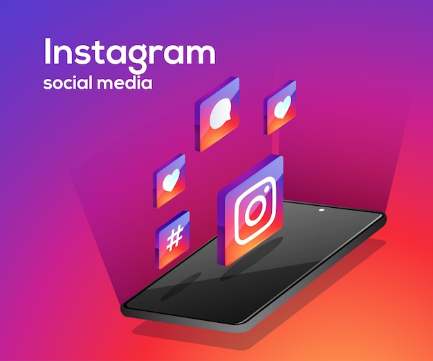 Icone dei social media di instagram con lo smartphone