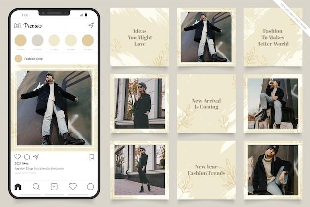 Puzzle cornice quadrata instagram. banner di post sui social media per la promozione della vendita di moda
