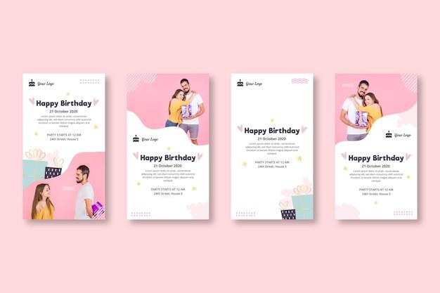 Raccolta di storie di instagram per la festa di compleanno