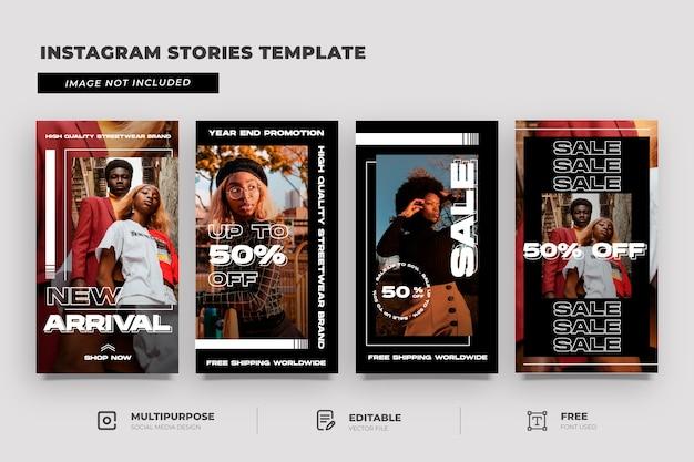 Raccolta di storie instagram con promozione della vendita di moda urbana