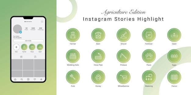 Le storie di instagram evidenziano la copertina per l'agricoltura