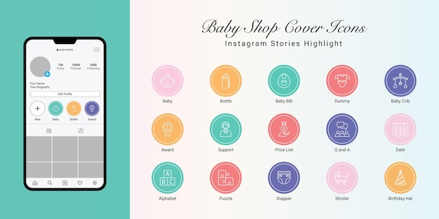 Le storie di instagram evidenziano la copertina di baby shop