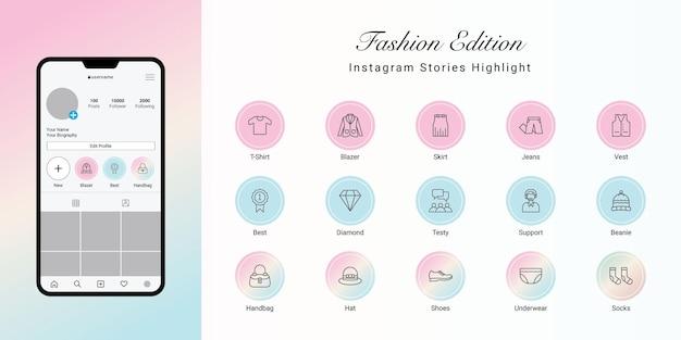 Le storie di instagram evidenziano la copertina di fashion