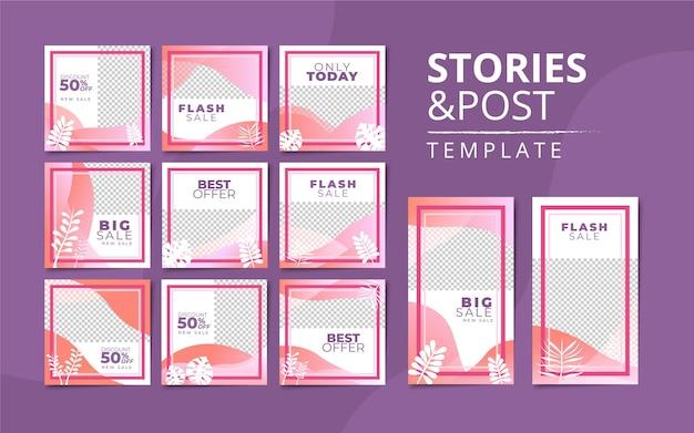 Storie di instagram e modello di raccolta di post