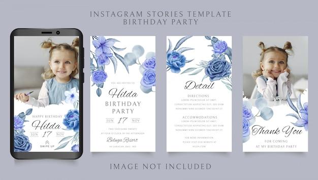 Modello di storie di instagram per il tema della festa di compleanno con sfondo floreale corona dell'acquerello