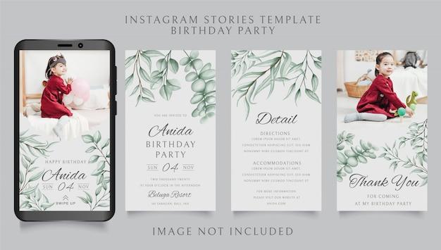 Modello di storie di instagram per la festa di compleanno con sfondo floreale