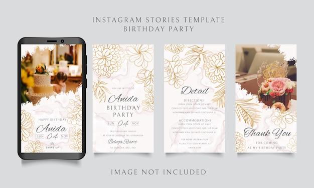 Modello di storie di instagram per festa di compleanno con cornice floreale dorata