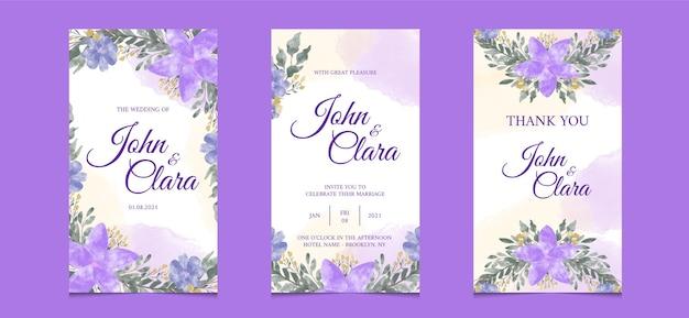 Modello di storie di instagram per carta di invito a nozze con sfondo floreale dell'acquerello