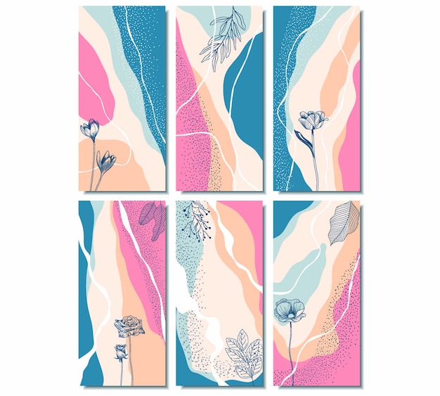 Storie di instagram con disegno astratto floreale.