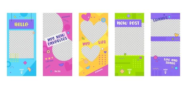 Set di schermate a bordo della pagina dell'app per dispositivi mobili del modello colorato di instagram story.