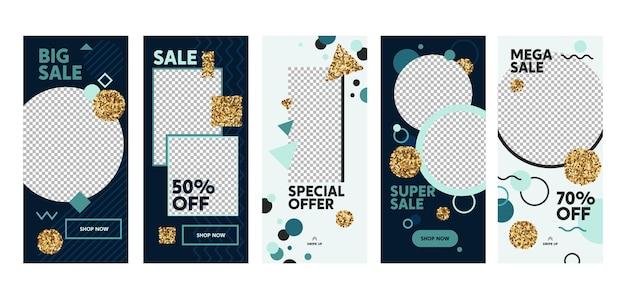 Set di schermate integrate per la pagina dell'app per dispositivi mobili di instagram story super sale.