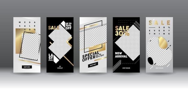 Set di schermate a bordo della pagina dell'app per dispositivi mobili di vendita del modello di storia di instagram