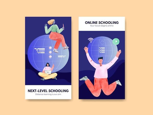 Modello di storia di instagram con concetto di apprendimento online, stile acquerello