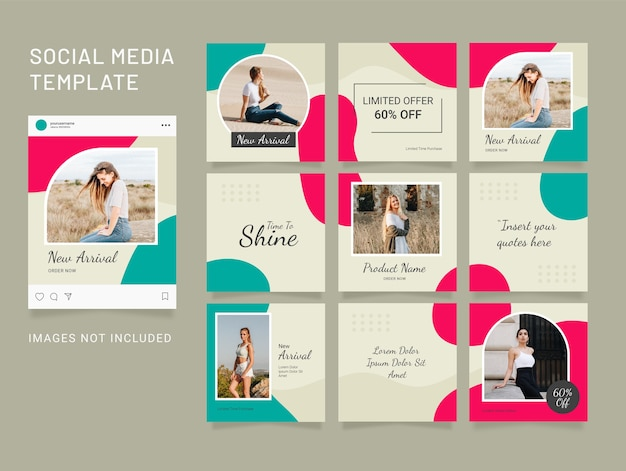 Instagram template fashion social media puzzle feed