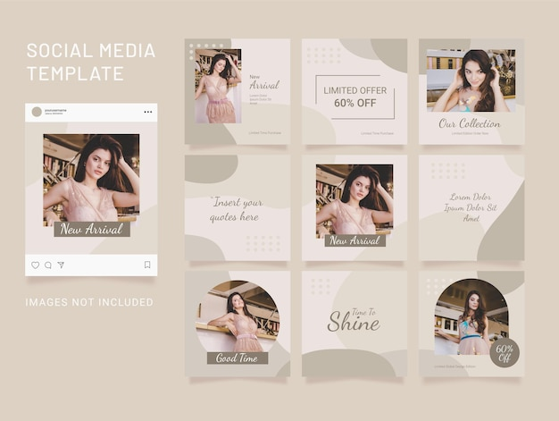 Instagram template fashion women puzzle feed