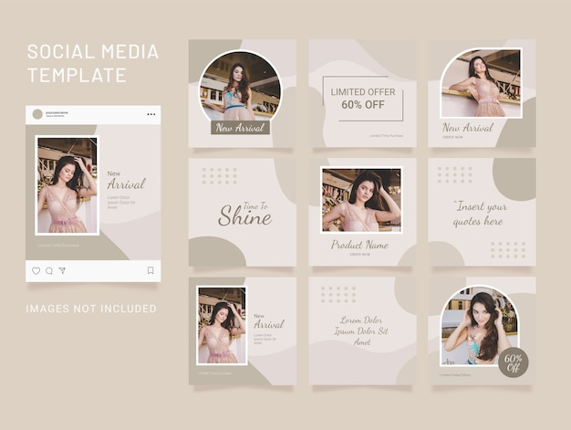 Instagram template puzzle fashion social media feed