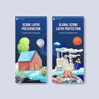 Modello di instagram impostato con il concetto di giornata mondiale dell'ozono, stile acquerello