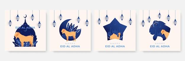 Modello di instagram o modello di post sui social media con tema eid al adha mubarak