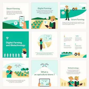 Vettore modello instagram per set di agricoltura intelligente