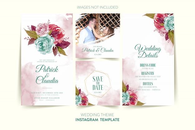 Modello di instagram per la carta di invito di nozze con fiori e foglie dell'acquerello