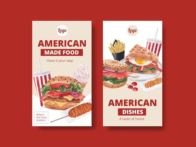 Modello di instagram con il concetto di cibi americani,stile acquerello