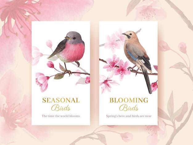 Modello di instagram con l'illustrazione dell'acquerello di progettazione di concetto dell'uccello del fiore
