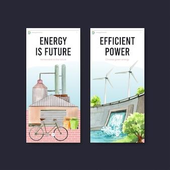 Modello di instagram con il concetto di energia verde in stile acquerello