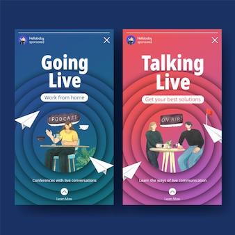 Modello di instagram con il concetto di conversazione dal vivo