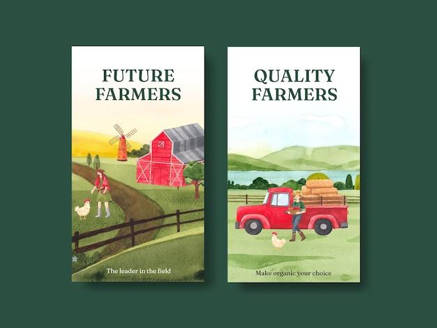 Modello di instagram con il concetto di giornata nazionale degli agricoltori, stile acquerello