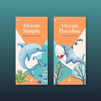 Modello di instagram con il concetto di oceano felice stile acquerello