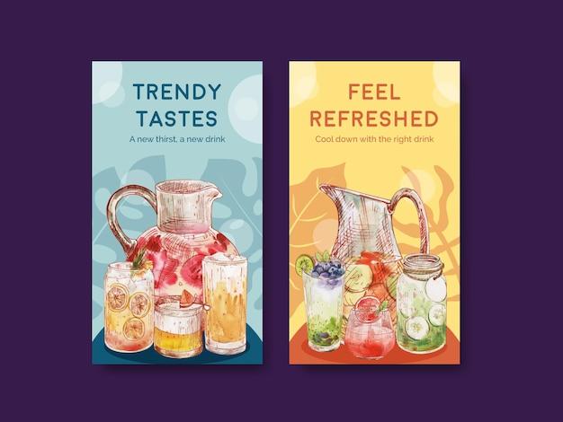 Modello di instagram con il concetto di bevande rinfrescanti,stile acquerello