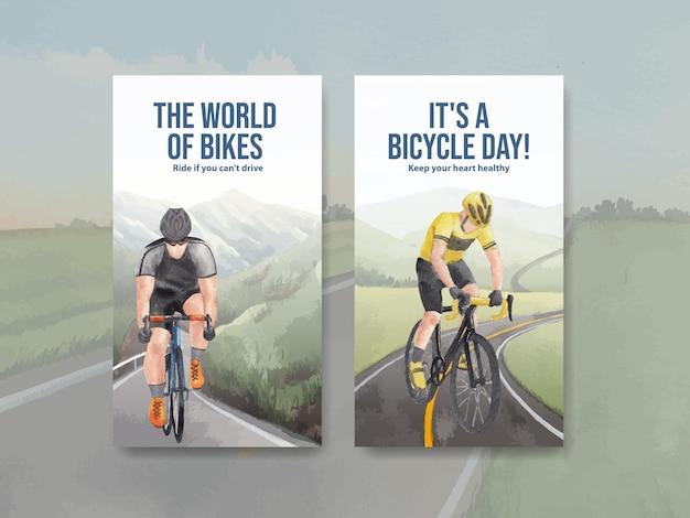 Modello di instagram con il concetto di giornata mondiale della bicicletta, stile acquerello