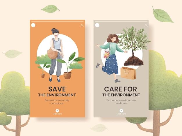 Modello di instagram con il concetto di giornata mondiale dell'ambiente, stile acquerello