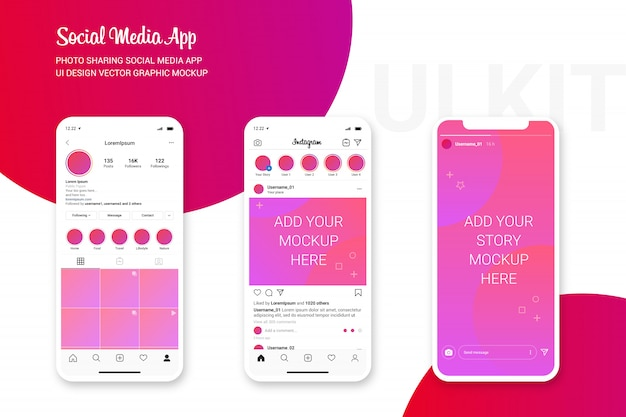 Mockup dell'interfaccia utente di instagram, interfaccia per social media dell'app per la condivisione di foto Vettore Premium