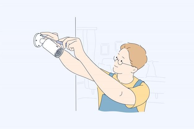 Installazione, sicurezza, assistenza, concetto di telecamera